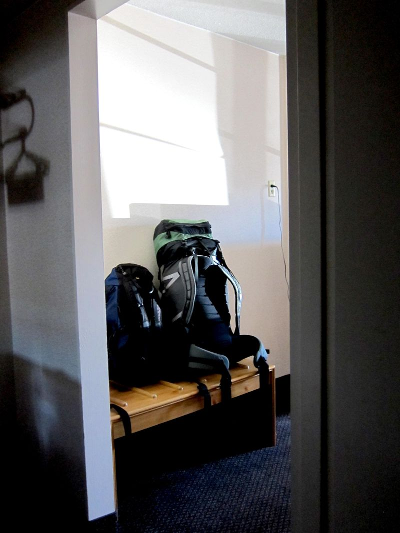 Backpacks in hotel light